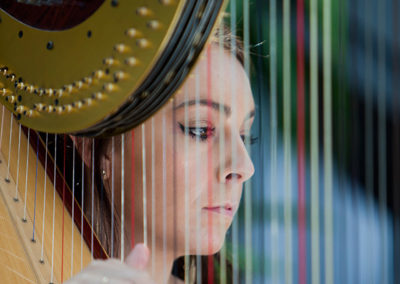 harpist playing at summer concert